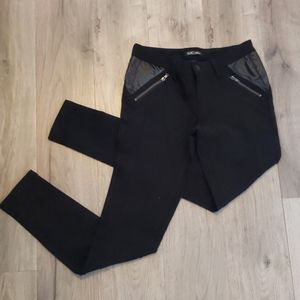 Black pants with pleather panels